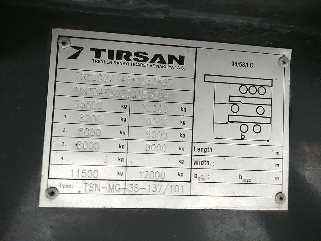 2013 TIRSAN SLIDING ROOF CURTAIN LIFT MASTER TOWEL TRAILER 13,60  - Erçal Trucks